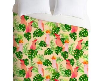 Duvet Cover ~ Major Mitchell bird pattern quilt cover, tropical jungalow botanical bedding set, wedding gift, apartment decor, dorm decor