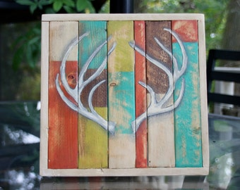 Handmade Distressed Wood Antler Sign