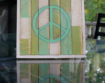 Handpainted Distressed wood Peace Sign