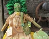 GREEN RAGGEDY DOLL Primitive Handmade Green Worm Doll!! Garden Grubby Summer Farmers Market Up cycled Funky Garden Tomato Tomatoe Pin Keep