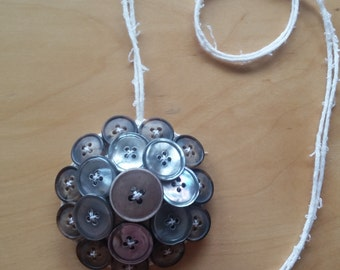 Fabric and buttons necklace pendant - style 2 -