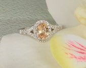 RESERVED Final Payment on Custom Peach Sapphire Split Shank Diamond Halo Engagement Ring Gemstone Engagement Ring