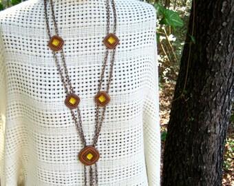 Vintage 70s Flapper Necklace Clay Enamel Double Chain Tassels
