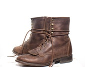 9 M | Women's Brown Laredo Lace Up Ropers Kiltie Ankle Roper Boot