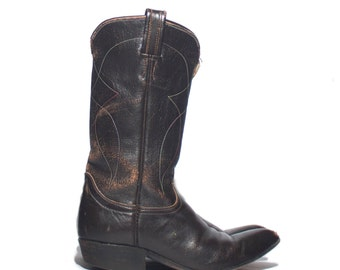 4.5  | Women's Distressed 1970's Gold & Black Label Tony Lama Western Boots Dark Brown Pointed Toe Cowboy Boots