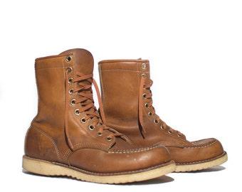 8 | Men's 1970's Vintage Brown Moc Toe Work Boots