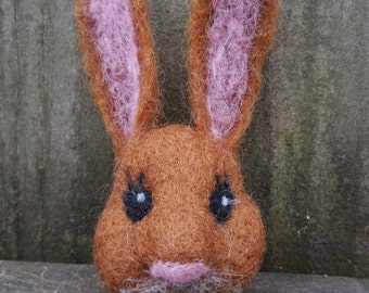 Ready to Ship Easter Bunny Pin / Needle Felted Wool Brooch / Spring Brown Rabbit Felt Jewelry