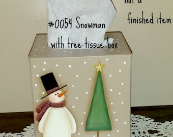 EPATTERN, #0054 Snowman with Tree Tissue box cover, painting pattern, decorative painting, digital download, snowman pattern, prim pattern