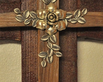 Brick Red Unusual Cross -One of a kind reclaimed wood cross, silver flower and leaves