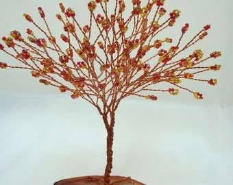 Copper Tree of Life, Fall Colors Tree of Life, Wire Wrapped Tree Centerpiece,  Copper Tree Sculpture