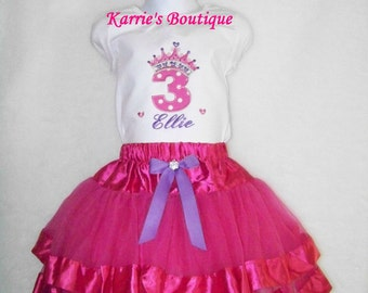 Birthday Princess / Tutu + Shirt + Bow / Disney / Pink / Purple / Baby / Girl / Toddler / Custom Boutique Clothing