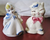 Vintage Little Red Riding Hood and Shawnee Puss N Boots Shakers