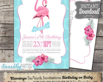 Flamingo Invitation - INSTANT DOWNLOAD - Partially Editable & Printable Pink Invite Birthday or Baby Invitation by Sassaby Parties