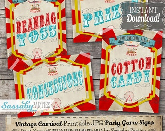 30 Vintage Carnival Game Sideshow Alley Signs Posters - INSTANT DOWNLOAD - Printable Birthday Party Circus Decorations by Sassaby Parties