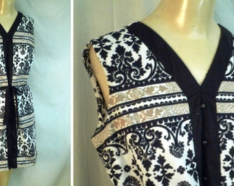Vintage Mini Dress 1960's Mod Graphic Print Black and White  38 bust 38 hips