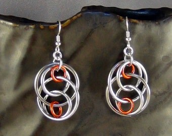 Chainmaille Earrings, Aluminum Rings,  SS Earwires - Hand Crafted Artisan Jewelry