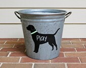 Personalized Black Lab Galvanized Bucket - hand painted waterproof bucket for pet organization