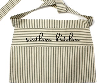 SALE! Southern Kitchen Half Apron, Red or Green Striped