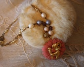 Vintage Dog Pink Flower Necklace