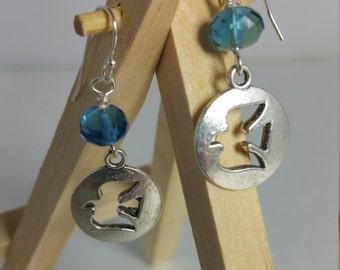 Spirit of Peace handmade silver dangle earring