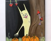 Original Acrylic Painting On Canvas - Halloween Decor - The Pumpkin Thief - Fantasy Wall Decor - Original Monster Painting - OOAK