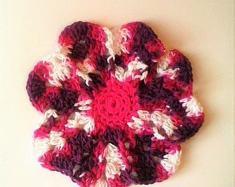 CLEARANCE Flower Dishcloth or Washcloth - Daisy - 100% Cotton, Ecofriendly, Re-usable