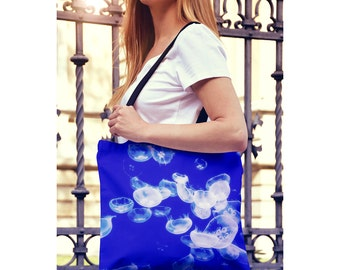 Yoga Bag - Jellyfish Beach Tote Bag, Blue Farmers Market Bag, Shopping Bag, Back to School Book Bag - Small or Large Sizes Available