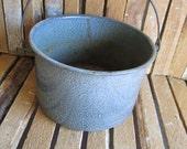 Sauce Pot - Graniteware Stew Pot - Gray Enamel Pot - Planter - Display