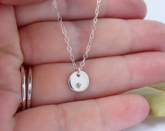 Flat Pebble Birthstone Necklace: sterling silver necklace, simple necklace, birthstone necklace, Mother's Day necklace, simple pendant