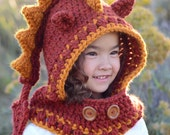 CROCHET PATTERN - Lucky Dragon Hood & Cowl - a crochet dragon hood pattern, pixie hood (Toddler/Child/Adult sizes) - Instant PDF Download