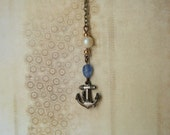 Anchor Lariat Necklace Nautical Y Necklace - made with a small anchor button