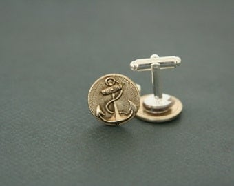 Ship Anchor Cufflinks Nautical Cuff Links - made with vintage anchor buttons