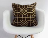 Penn Grid 18x18 pillow cover in metallic gold hand printed on brown organic hemp