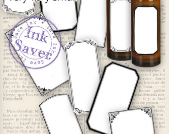 Blank Mini Apothecary Labels printable eco add text printable hobby crafting digital instant download digital collage sheet - VDLAVI1221