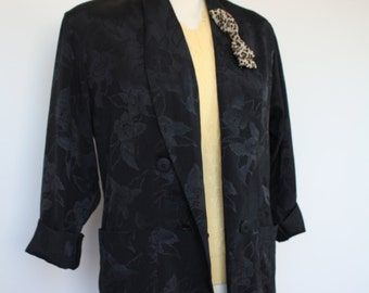 80s Loose Fit Blazer Jacket Black Rose Leopard Print Bow