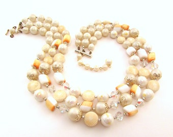 Japan Multi Strand Beaded Necklace - Orange, White, AB Crystal Accent Beads