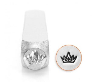 CROWN Shape Metal Design Stamp, 6mm, ImpressArt, outline stamps, princess crown, queen crown, 5-point crown, tol0437
