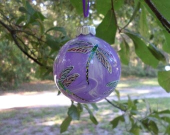Hand Painted Glass Dragonfly Ornament  swirled purple  background no242