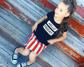 Hello FRIDAY Hi-Lo Tee - baby, toddler, child, adult, woman, girl, fashion, shirt. mommy and me, mini me