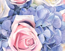 Erin's Bouquet watercolour print 5 by 7 size EB5715 - wedding flowers - flower watercolour painting - Bouquet of flowers painting