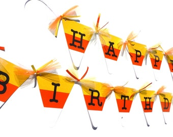 Candy Corn Happy Birthday Halloween Banner - Halloween Birthday Decoration - Halloween Birthday Party Decoration