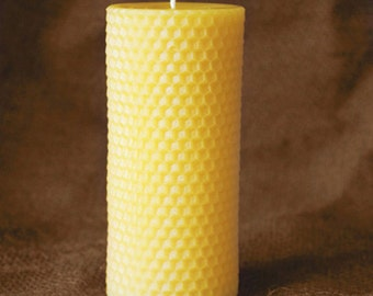 """100% Pure Beeswax Pillar Candle w/ Honeycomb Texture - 2 1/4"""" x 5"""""""