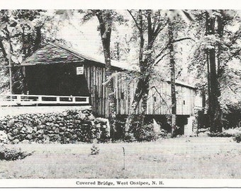 Covered Bridge West Ossipee New Hampshire Black and White Photograph Vintage Postcard