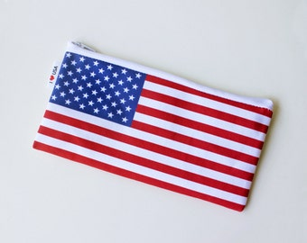 American flag zipper pouch pencil case - choose your size - Back to school zipper pouch with the flag of USA