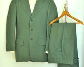 Mens Suit 38R 39R Vintage 1970's Mod Green Striped Polka Dot Lined 33 Waist Trousers Funky Three Button Jacket