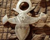 Niger Tuareg cross shiny tarnished hand engraved medium pendant