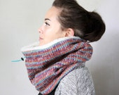 Chunky scarf, chunky knit cowl scarf,  Snock®, in soft and chunky colorful wool knit with faux lamb lining
