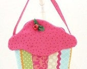 little girls purse cloth cupcake purse fabric gift bag cloth goodie bag Easter basket May Day party favor CC251
