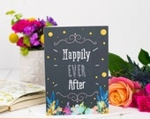 Happily Ever After Card - Wedding Card - Chalkboard Card - Card For Wedding - Fairy tale Wedding Card, Congratulations Card