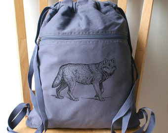Wolf Canvas Backpack School Bag Laptop Backpack